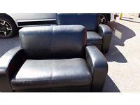 Black faux leather 2 seat sofa X 2