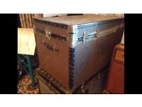 Vintage large travel trunks cases, coffee table storage retro