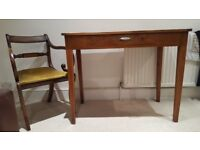 Vintage light brown wood desk table - with or without assorted chairs