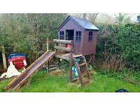 Wooden playhouse with slide!