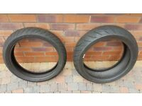 MATCHING PAIR of PART WORN METZELER ROADTEC Z8 INTERACT GOOD CONDITION Front 3mm / Rear 6mm