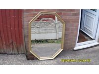 VERY DECORATIVE OCTAGON SHAPED MIRROR BEVELLED GLASS