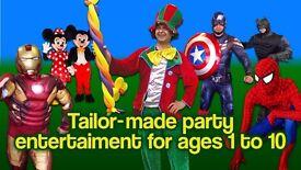 ***Kids birthday party entertainer MASCOTS Balloon Modeller AVENGERS IRON MAN CAPTAIN AMERICA BATMAN