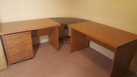 Corner desk unit, comprising 2 desks, connecting corner top & pedestal. Good condition.