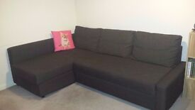 Brown corner sofa bed, hardly used