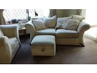 Matching Cream sofa bed, single chair and puffy