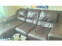 Leather left hand end chaise sofa