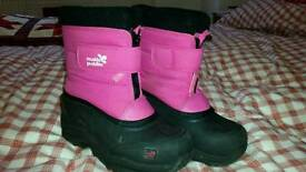Snow boots girls muddy puddles