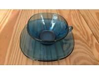 Retro Blue Glass Tea Set