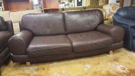 2 Large Two Seat Modern Chocolate Brown Sofas