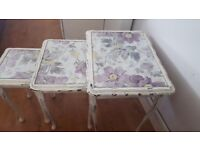 Nest of three hand painted tables distressed for vintage feel laura ashley fabric inserts