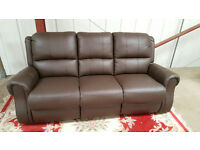 CHRISTMAS BARGAIN BANKRUPT STOCK Brand New Premium Recliner Edward Leather Three Seat Sofa £500