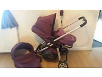 icand cherry pushchair and carrycot