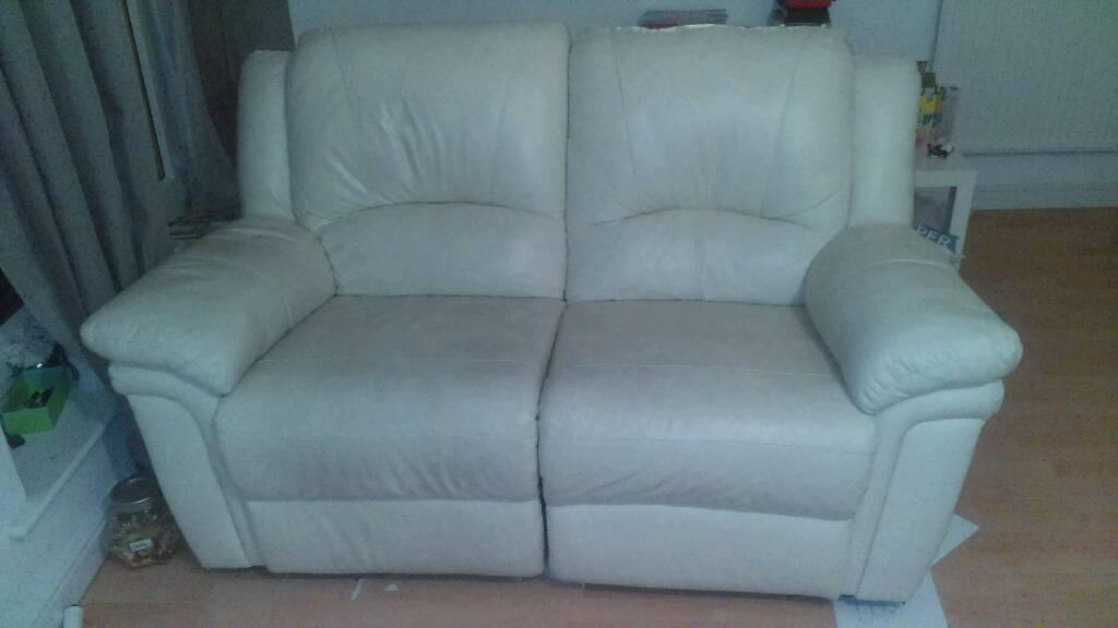 Cream leather 2 seater recliner