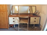 Retro/Stylish Dressing Table/Dresser & Chair - Also Good Desk - Can Also light up