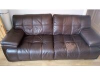 Absolute Bargain 3 Seater Dark brown Italian Leather suite plus matching armchair