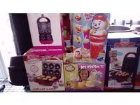 kids cooking machines makers icecream, popcorn, mr frosty, dougnut pop cake cupcake waffles