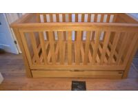 Mamas and Papas Ocean Cot Bed and Changing Table - Solid Oak
