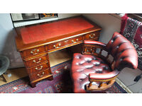 Red Leather Top Writing Desk with Matching Captain's Chair