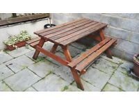 £20.PICNIC TABLE WOODEN 5.1FT 4-6 SEAT FOR GARDENS, PARKS, SCHOOLS, PUBS.