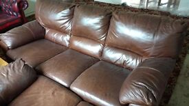 3 and 2 seaters brown leather sofas