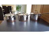 3 x silver copper base saucepans
