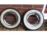 Vespa Px T5 whitewall tyres & chrome rims - Continental K62
