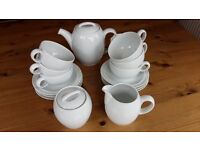 Denby White complete Tea Set - brand new. Tea pot, milk jug, sugar bowl, 6 cups and saucers