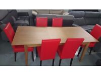 BRAND NEW John Lewis Alba 6-8 Seater Extending Dining Table, Oak & 6 Red Arina Dining Chairs
