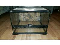 Exo Terra Natural Terrarium 30x45 with water bowl, a medium and small hide.