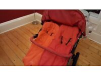 3 wheeler double buggy with cosytoes and raincover