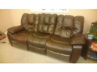 Free Large dark brown 3-seater recliner sofa. Good condition, free to whoever can collect