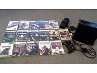 Xbox 360, 16 games, 3 wireless controllers, 2x head phone, wireless steering wheel and foot pegs