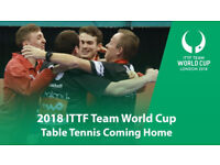 ITTF Team World Cup 2018 Table Tennis SUNDAY FINALS TICKETS