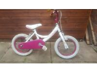 Girls bike with new tyres and tubes. Suit 4 to 6 yr old. Well used .
