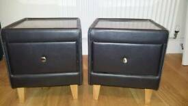 2 x faux leather bedside tables