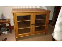Pine TV cabinet with glass doors