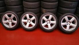 Audi 17 alloy wheels +4 x tyres 225 45 17 Audi S3,A3,VW, PCD 5 x 100