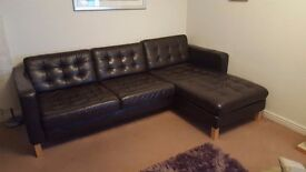 REDUCED!! Brown leather 4 seater chaise and large 2 seater sofa, Excellent condition.