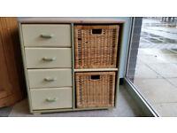 Solid Pine Four Draw and Wicker Storage Unit