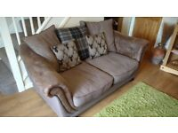 2 Seater Sofa (Scatter Back) Lebus Upolstery Argyle Highland Collection Coffee with Mahogany Feet