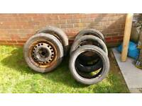 Old wheels and tyres