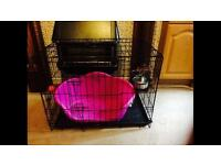 Large dog cage and large waterproof black dog bed