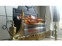 Vintage electric fireplace solid heavy brass and metal