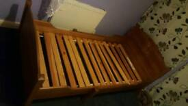 EXTENDABLE single wooden bed and mattress NEED GONE ASAP