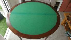 Antique Card Poker Games Folding Green Felt Inlay Table