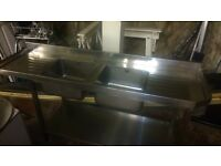 Double Bowl & Tray Catering Sink