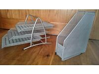A4 3 TIER FILING SET WITH MATCHING A4 STORAGE UNIT. BOTH IN SILVER MESH AND AS NEW.