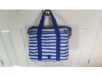 Family size cool bag in blue and white stripes. Brand new with tags.