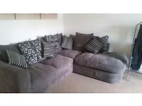 Grey corner sofa and sofa bed with swivel chair